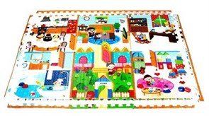 "Двусторонний коврик-пазл MAMBOBABY ""Семейный дом"" с кромками (180х120х2 см)"