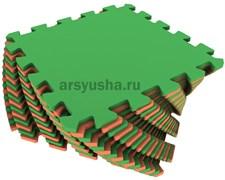 Мягкий пол универсальный 25х25х0,9(см) оранжево-зеленый