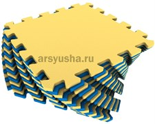 Мягкий пол 25x25x0,9см цвет сине-желтый