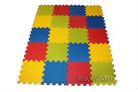 "Коврик-пазл BABYPUZZ плиты 50х50х2,5 см, ""Разноцветная полянка"" с кромками, 4 шт"
