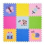 """Игровой коврик-пазл FunKids 12"""" с рисунками """"Окружающий Мир. Насекомые"""", 9 плит, 30х30х1,5 см"""