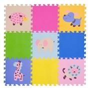"""Игровой коврик-пазл FunKids 12"""" с рисунками """"Окружающий Мир. Животные"""", 9 плит, 30х30х1,5 см"""