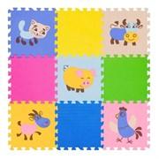 """Игровой коврик-пазл FunKids 12"""" с рисунками """"Окружающий Мир. Домашние животные"""", 9 плит, 30х30х1,5 см"""