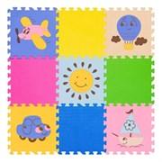 """Игровой коврик-пазл FunKids 12"""" с рисунками """"Окружающий Мир. Транспорт"""", 9 плит, 30х30х1,5 см"""