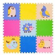 """Игровой коврик-пазл FunKids 12"""" с рисунками """"Окружающий Мир. Дикие животные"""", 9 плит, 30х30х1,5 см"""