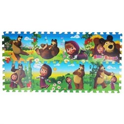 """Коврик-пазл """"Маша и медведь"""" 8 элементов, каждый 29,5х29,5 см - фото 17413"""