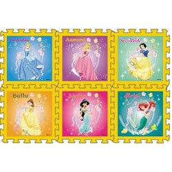"""Коврик-пазл """"Disney Принцесса"""" 6 элементов, каждый 31,5х31,5см - фото 17508"""