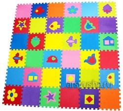 """Коврик-пазл BABYPUZZ (36 плит 33x33x1см, ~4кв.м./уп) """"Разноцветный коврик с фигурками"""" - фото 17990"""