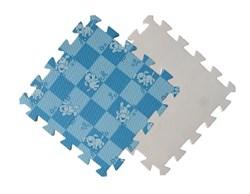 Мягкий пол 30*30*1 см Голубая клетка+Собачки - фото 18516