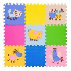 """Коврик-пазл FunKids 12"""" с рисунками """"Окружающий Мир. Домашние животные"""", 9 плит, 30х30х1 см - фото 23371"""