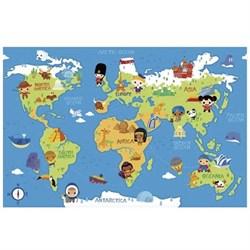"""Односторонний коврик-пазл MAMBOBABY """"Карта мира"""" с кромками (180х120х2 см) - фото 24548"""