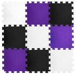 """Коврик-пазл BABYPUZZ (24 плиты 50x50x1см, 6кв.м./уп) """"Черно-белый с фиолетовым"""" - фото 488462"""