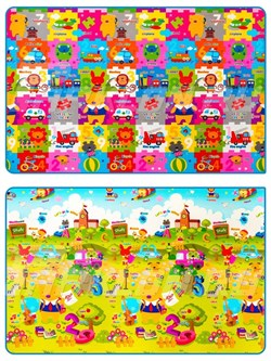 Prime Living (Double sided) mat 150 x 200 x 1cm, Желтый мишка и пазлы/Школа - фото 5656