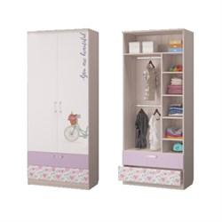 Шкаф для одежды с 2-мя ящиками Адель, 901х446х2136, Ясень светлый/Белый - фото 587729