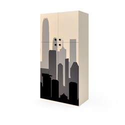 Шкаф широкий 4 двери, 1806х900х504 мм, цвет кремовый/фотопечать - фото 598730