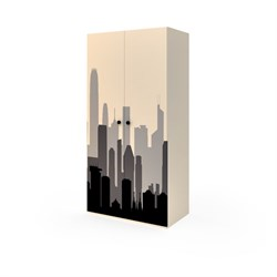 Шкаф широкий 2 двери, 1806х900х504 мм, цвет кремовый/фотопечать - фото 598733
