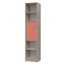 Шкаф стеллаж с дверкой СИТИ 410*355*1905 Дуб сонома/Коралл - фото 598988