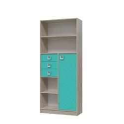 Шкаф стеллаж с дверкой и ящиками СИТИ 800*355*1905 Дуб сонома/Аква - фото 598992