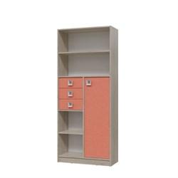 Шкаф стеллаж с дверкой и ящиками СИТИ 800*355*1905 Дуб сонома/Коралл - фото 599005