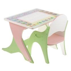 """Набор мебели """" Буквы-цифры"""": стол-парта, стул. Цвет салатовый-розовый - фото 608177"""