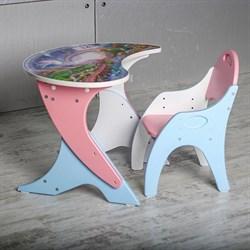 """Набор мебели """"Космошкола"""": стол-парта, стул. Цвет розовый-голубой - фото 608179"""