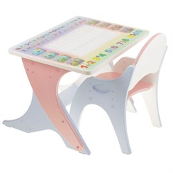"""Набор мебели """"Буквы-цифры"""": стол-парта, стул. Цвет розовый-голубой - фото 608342"""