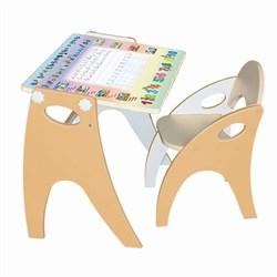"""Набор мебели """"Буквы- цифры"""": парта-мольберт, стульчик. Цвет персик жемчужный - фото 608377"""