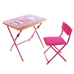 """Набор детской мебели """"Маша и медведь. Азбука-3"""" складной, цвет розовый - фото 608425"""