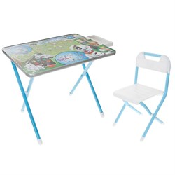 """Набор детской мебели """"Далматинцы"""" складной: стол, стул и пенал, цвет голубой - фото 608427"""