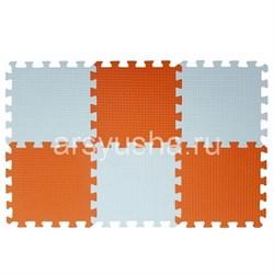 "Коврик-пазл BABYPUZZ (6 плит 33x33x1см, ~0,65кв.м./уп) ""Бело-оранжевый"" - фото 629047"