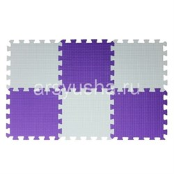 "Коврик-пазл BABYPUZZ (6 плит 33x33x1см, ~0,65кв.м./уп) ""Бело-фиолетовый"" - фото 629049"
