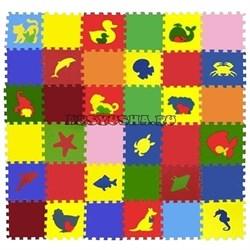 """Коврик-пазл Экополимеры (36 плит 33x33x0,9см, ~4кв.м./уп) """"Ассорти+Животные"""" - фото 631260"""