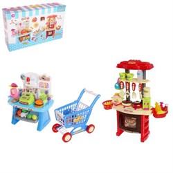 """Игровой модуль """"Кухня + Магазин"""", 100 предметов с тележкой - фото 631751"""