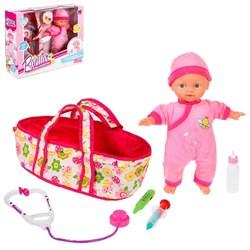 Пупс мягконабивной «Малыш» с переноской и аксессуарами - фото 631790