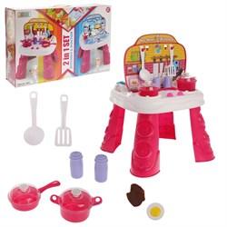 """Игровой набор """"Играем в профессии"""" 2в1 (повар/доктор): столик, набор для кухни, набор доктора, аксессуары - фото 631890"""