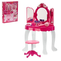 """Игровой набор """"Волшебница"""": столик с зеркалом, аксессуарами, феном, с пультом управления, МР3, высота 72 см, работает от батареек, - фото 632010"""
