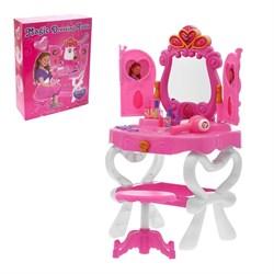 """Игровой набор """"Волшебный-2"""": столик с зеркалом и фоторамками, стульчик, фен, аксессуары, со светом и звуком, работает от батареек, высота 71,5 см - фото 632090"""