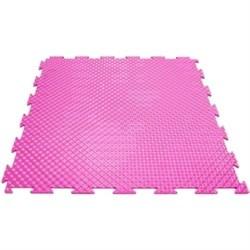 Эластичное напольное покрытие для тренажерных залов, 37,5х37,5х0,8/1/1,4 см, розовый - фото 646183