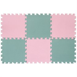 "Коврик-пазл 12""  6 плит Funkids ""Симпл-12"" 30х30х1,5 см розово-серый - фото 695017"