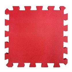 """Коврик-пазл BABYPUZZ (4 плиты 50x50x1см, 1кв.м./уп), текстура """"кожа"""", красный - фото 695691"""