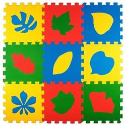 """Коврик-пазл Экополимеры (9 плит 33x33x0,9см, ~1кв.м./уп) """"Листья"""" - фото 721046"""