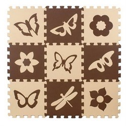 "Коврик-пазл Экополимеры (9 плит 33x33x0,9см, ~1кв.м./уп) ""Бабочки-2"" - фото 727750"