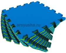 """Коврик-пазл Экополимеры (16 плит 25x25x0,9см, 1кв.м./уп) """"Сине-зеленый"""