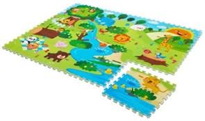 """Детский развивающий коврик-пазл Mambobaby """"Животный мир"""" (двустосторонний) 180х135х2 см (12 плит 45*45*2см) ТМ."""