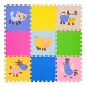 """Коврик-пазл FunKids 12"""" с рисунками """"Окружающий Мир. Домашние животные"""", 9 плит, 30х30х1,5 см"""