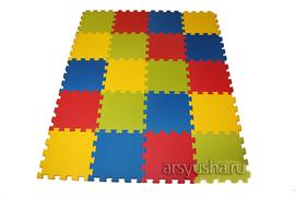 """Коврик-пазл BABYPUZZ (16 плит 50x50x2см, 4кв.м./уп) """"Разноцветная полянка"""" с кромками"""