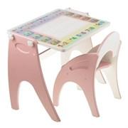 """Набор мебели """"Буквы- цифры"""" парта-мольберт, стульчик. Цвет розовый"""