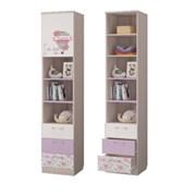 Шкаф дня книг с 3-мя ящиками и дверкой, 451х446х2136, Ясень светлый/Белый