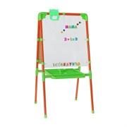 Мольберт двухсторонний с большим пеналом, магнитными буквами, цифрами и мозаикой, цвет оранжевый, 52х51х104см