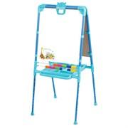 Мольберт двухсторонний растущий, со счётами, с большим пеналом, магнитными буквами, цифрами и мозаикой, цвет голубой, 52х51х104см